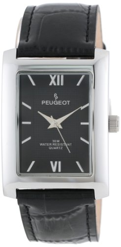 Peugeot Men's 2033BK Silver-Tone Black Leather Strap and Black Dial Watch