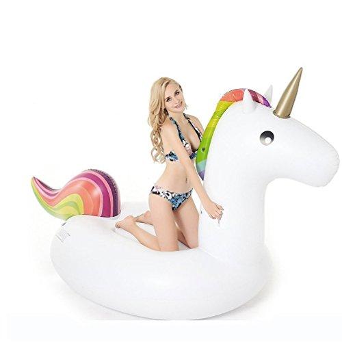 Einhorn Luftmatratze Aufblasbarer Pool Floß, Aufblasbar Schwimmen Floß PVC Aufblasbarer Schwebebett für 2-3 Personen Wasser Spielzeug (Small) (Hals Tier)
