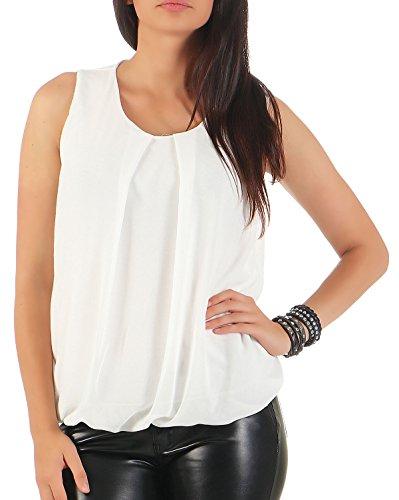 Malito Damen Bluse ärmellos | Tunika mit Rundhals | Leichtes Blusenshirt | Elegant - Shirt 6879 (weiß)