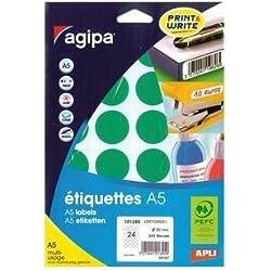 AGIPA Etui A5 ( 10F ) de 240 Pastilles Gommettes Rondes 30 mm Vert