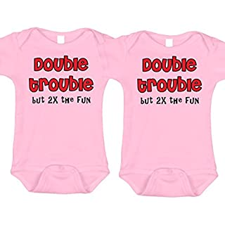 Bebe Bottle Sling Double Trouble Twin Body Suit Pink