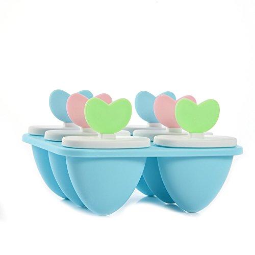 6Zellen Eis Form FROZEN Ice Cube Sticks Schöpfern Popsicle Lolliform DIY Herz Form Lolly Tools (blau)