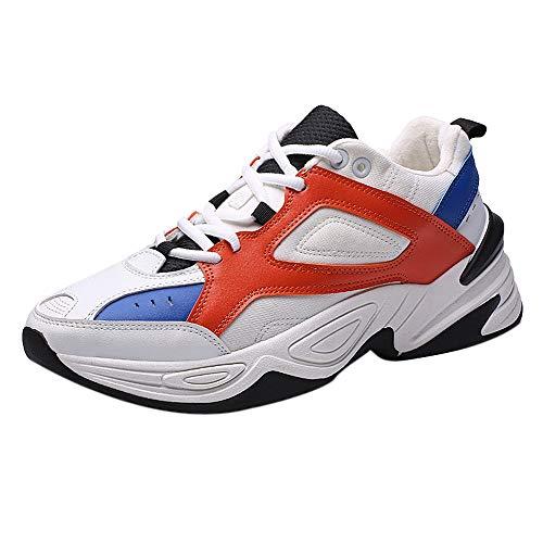 CUTUDE Herren Sportschuhe Trend Lässig Atmungsaktiv Laufen Wilde Schuhe Mesh Fitness Schuhe Lässig Komfortschuhe Laufschuhe (Rot, 40 EU)