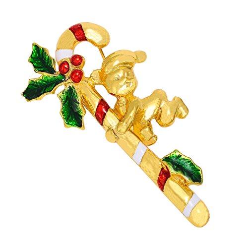 ROSENICE Donne Strass Spilla Pin Stampella Disegno Fascino Natale Festa Ornamento - Vintage Del Strass Pin