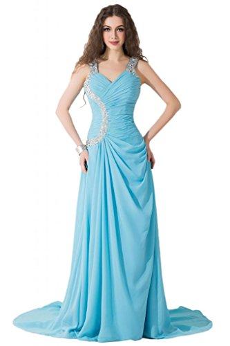 Sunvary modesta Spaghetti, cinghia e corsetto abiti per abiti da sera Pageant sera Blu