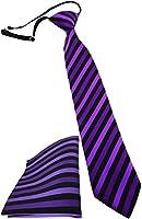 Security Sicherheits Krawatte + Einstecktuch in lila schwarz gestreift - vorgebunden mit Gummizug