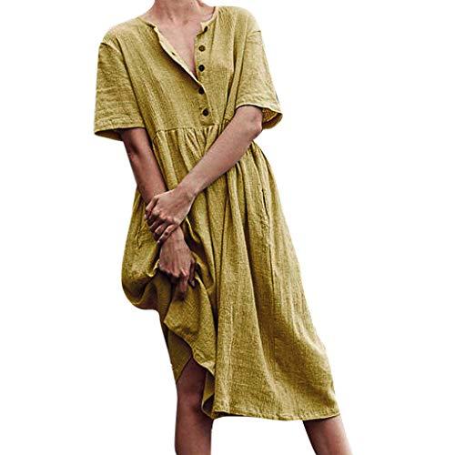 iYmitz O-Neck Kleider Damen Freizeit Strandkleider Lose Sommerkleider Einfarbig Tunika Leinen Shirtkleid Midikleider(X4-Gelb,EU-38/CN-L) (Bloody Beste Rezepte Mary)