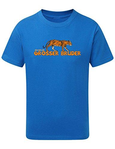 Kinder T-Shirt: Tiger Ich Bin Ein Großer Bruder T-Shirt – Geschenk für Werdender Bruder – Kleinkinder T-Shirt Blau Jungen mit Aufdruck (128 7-8 Jahre)