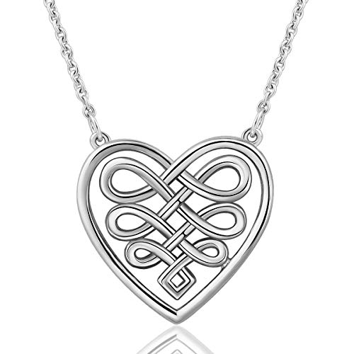 Silberketten für Frauen, 925 Sterling Silber Unendlichkeit Keltische Liebe  Knoten Ewige Anhänger Halskette, 18 908446206f