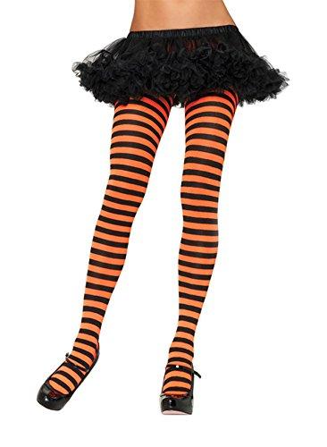 Leg Avenue 7100 - Blickdichte Ringel-Strümpfhose Kostüm Damen Karneval, Einheitsgröße, schwarz/orange (Avenue Strumpfhose Leg)