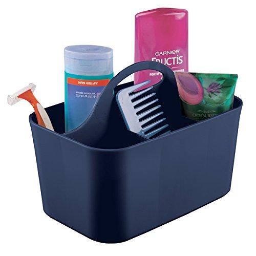 mDesign Badezimmer-Korb mit Griff - als Kosmetik-Organizer, Küchen-Aufbewahrungsbox oder Gästehandtuchhalter - Bad-Box aus blauem Kunststoff - 15,24 cm x 24,4 cm x 17,1 cm