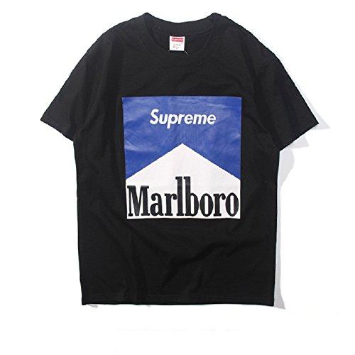 BOMOVO Herren SUPERME Rundhals-Ausschnitt Shirt Marlboro Schwarz