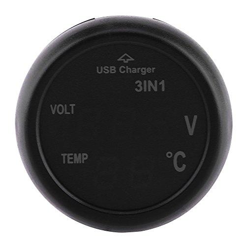 Qiilu 3in1 Dual LED Digital Display Voltímetro Termómetro