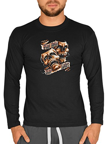 Biker Hemd - Play Now - Pay Later - Langarm-Shirt für echte Kerle Schwarz