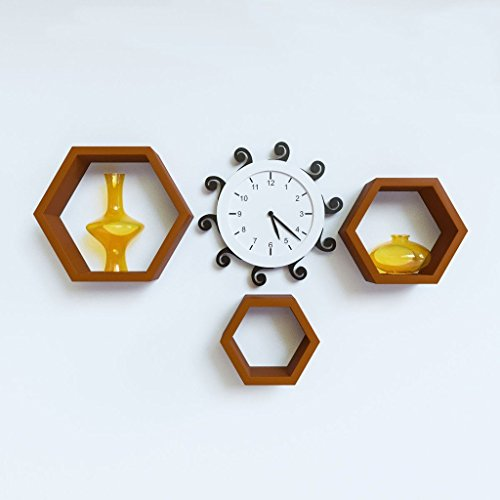 GrayWood Wall Shelf Rack Set Of 3 Hexagon Shape |Brown  available at amazon for Rs.999