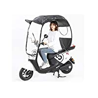 ewby Electric car umbrella canopy Motorcycle Canopy New Battery Car Anti-windshield Rain Sunscreen Umbrella Electric Bicycle Awning Black feathers-no rear view mirror