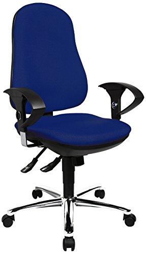Topstar Support SY, ergonomischer Bürostuhl, Schreibtischstuhl, inkl. höhenverstellbare Armlehnen, Bezugsstoff, blau