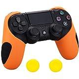 Pandaren silicone épais moitié la peau skin pour le manette de PS4 (orange) x 1 + thumb grip repose-pouce x 2