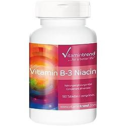 Vitamin B3 Niacin 100mg - Großpackung mit 180 Tabletten - ! FÜR 6 MONATE ! - vegan - hochdosiertes Niacin