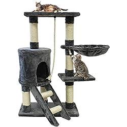 Todeco - Arbre à Chat, Perchoir pour Chat - Matériau: MDF - Dimensions de la Maison à Chat: 30,0 x 33,0 x 33,0 cm - 90 cm, 4 Plateformes, Gris