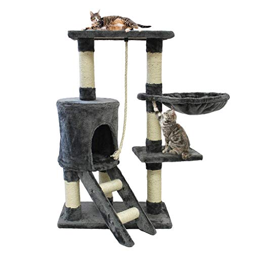 Todeco - Albero per Gatti, Alberi Tiragraffi per Gatti - Materiale: MDF - Dimensione casa per Gatti: 30,0 x 33,0 x 33,0 cm - 90 cm, 4 Piattaforme, Grigio