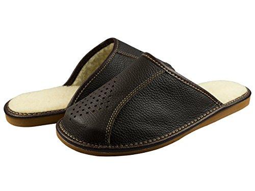 Natural Line Herren Leder-Hausschuhe, mit orthopädischer Innensohle oder mit Wolle gefüttert, erhältlich in verschiedenen Farben Deep Brown (Wool Lining)
