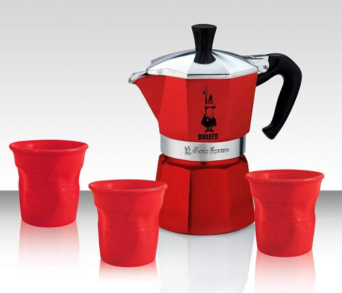 Bialetti, set moka, set per il caffè composto da caffettiera e 3tazze, di colore rosso, in edizione limitata