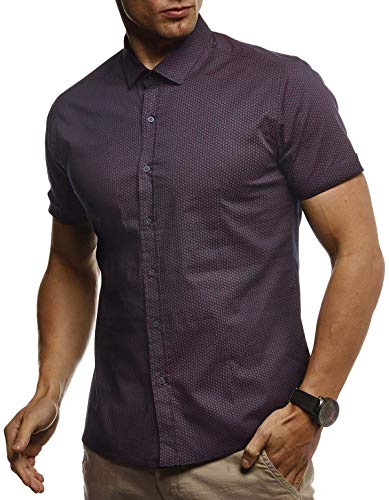 LEIF NELSON Herren Hemd Kurzarm Slim Fit T-Shirt Kentkragen | Stylisches Männer Freizeithemd Stretch Kurzarmhemd | Jungen Basic Shirt Freizeit Sweater Kurzarmshirt Sommerhemd | LN3820 Bordeaux Large