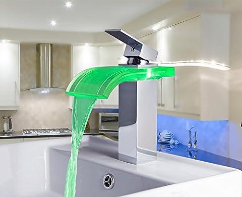 Ouecc Shang Bau & Immobilien Chrom Poliert Badezimmer Waschbecken Schiff Mixer Wasserfall Armaturen Led Tippen