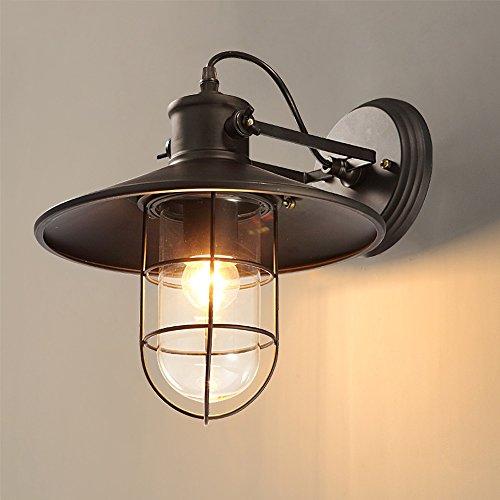 HXGD Vintage einstellbare Edison Wandleuchte Lampe industrielle Eisen Wandleuchte Laterne E27 mit Schwinge für Schlafzimmer Bar Balkon Gang Wand Villa (Black Metal) (Kerze Treibholz Wandleuchte)