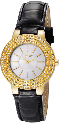 Joop Nova Women's Quartz Watch with Silver Dial Analogue Display and Black Leather Strap JP100992S06