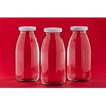 24botellas de cristal (Smoothie Botella vacías a 250ml mil botellas pequeñas de zumo Leche botellas de vidrio con tapa de cierre Blanco 0,25l L nº 200ml de slkfactory