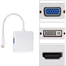 3 en 1 Mini DisplayPort (Thunderbolt) a HDMI /DVI /VGA Adaptador Cable de VicTsing, para Apple Mac Macbook Pro Aire iMac Microsoft Surface Pro etc