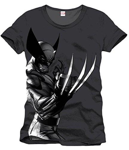 Wolverine - Marvel T-Shirt del super héroe in estilo - Con licencia oficial - Negro - L