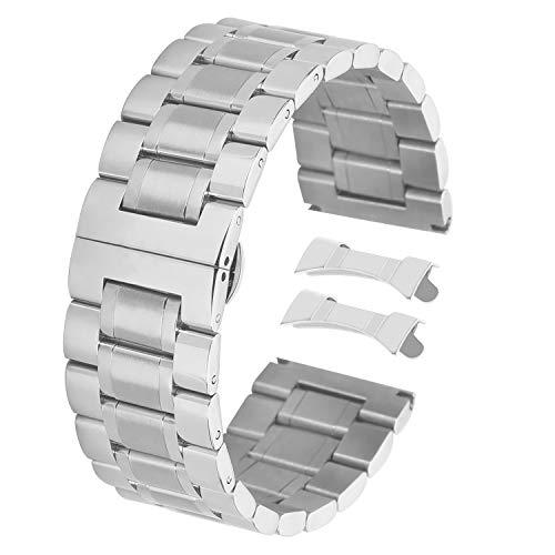 Mens 22mm Edelstahl-Uhrenarmband Armband Ersatz arbeiten Sie Splitter
