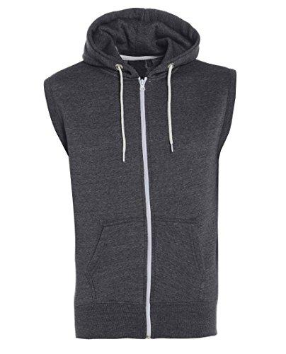 Gracious Girl - Abel hommes raffinent Zip Fleece Fixer capuche sans manches Gillet Sweat pour Veste charbon de bois