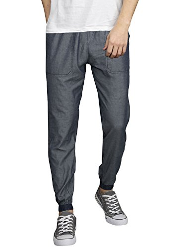 VERSATYL World's First, Fully Reversible 100% Cotton Denim Men's Stylish and Casual Joggers Slim Fit Track Pants with Four Pockets for Sports Gym Athletic Training Workout (Denim_Blue X Grey, 32)