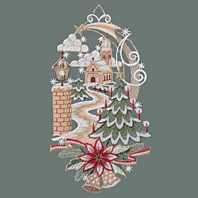 Raebel Fensterbild Spitze Plauener Stickerei Weihnachten Spitzenbild Fensterdeko Kirche + Saugnapf (Kirche Muttertag-ideen Die Für)