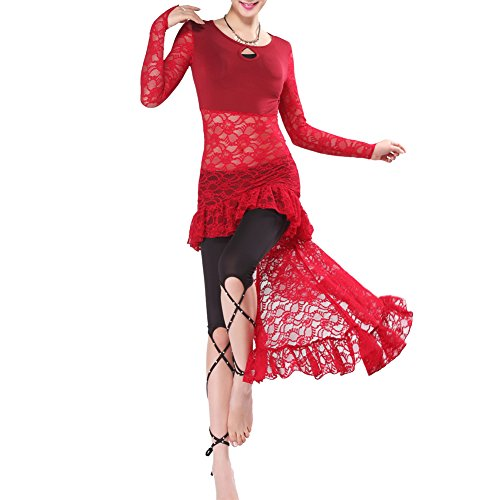 Q-jiu donna pizzo manica lunga danza del ventre costume set tops +pantaloni (senza accessori),red,l