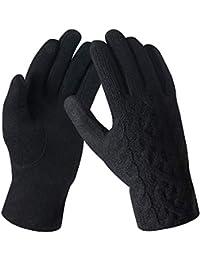 Bequemer Laden Damen Wintersport Handschuhe Dick Fleece Strick Handschuhe Touchscreen Warme Winterhandschuhe für Outdoor Garten mit Warme Fleece Futter & Wolle Haken