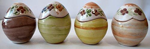 4 uova contenitore porta cioccolatini porta gioielli pasquali realizzati e decorati a mano le ceramiche del castello idea bomboniera made in italy dimensioni 6 x 6,5 centimetri cadauno