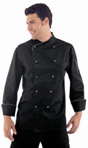 Novaplus Kochjacke schwarz grau langarm inkl. Kochjackenknöpfe