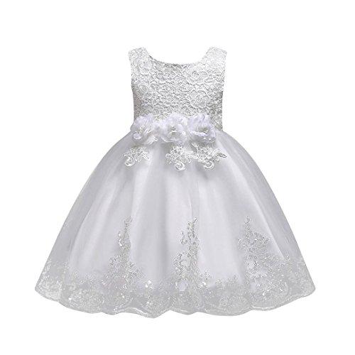 Uomogo® abito bambina principessa vestito da cerimonia per la damigella bowknot floreale abiti per la matrimonio carnevale natale regalo (età: 5 anni, bianca)