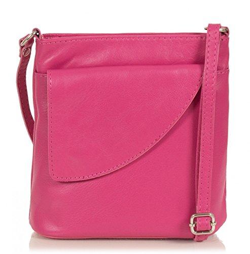 Taschenloft kleine Damen Umhängetasche I Schultertasche aus Leder (18 x 19 x 7 cm) (Pink)