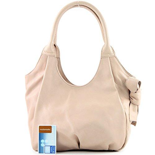 modamoda de - ital. Ledertasche Damenhandtasche Schultertasche Damentasche Nappaleder IT28 Rosabeige