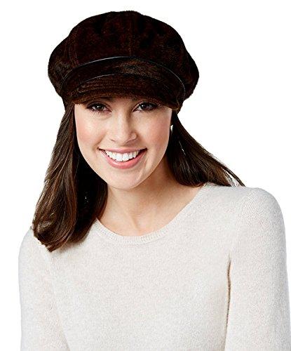Nine West Women's Faux Calf Hair Newsgirl Cap Hat, Brown (One Size)