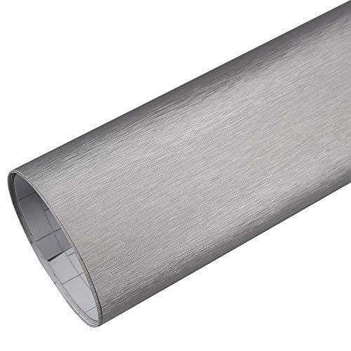 TipTopCarbon 10,94€/m² Autofolie Alu gebürstet Silber 0,3m x 1,52m Auto Folie BLASENFREI mit Luftkanälen 3D Flex