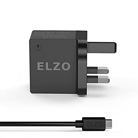 Elzo Quick Charge 3.0 18W USB Wall Charger Adapter Fast Rapid Portable Charger With A 3.3ft Quick Charge Micro USB Cable For Samsung Galaxy/Note, LG Flex2/V10/G4, Nexus 6, Motorola Droid/X, Sony Xperia, HTC, ASUS,