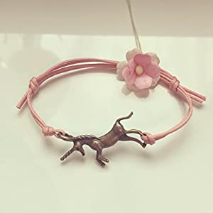 Einhorn Armband in Rosa Bronze Größenverstellbar, unicorn / vintage / ethno / hippie / must have / statement /...