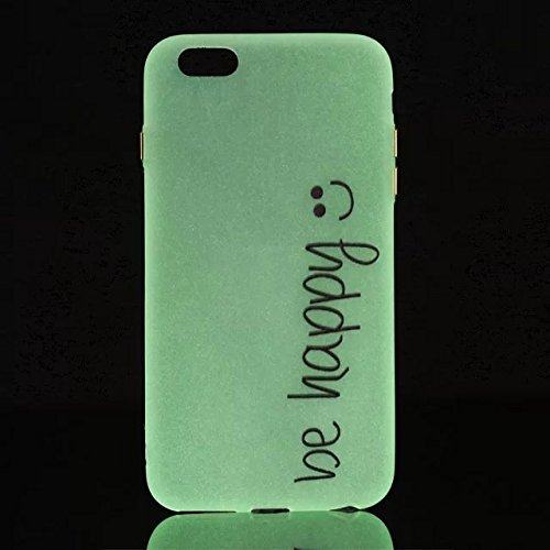 [iPhone 6 Plus/6S Plus] Silicone Coque,Souple TPU Coque Housse de Téléphone pour iPhone 6 Plus/6S Plus,Etsue Peinture Style Ultra Mince Souple TPU Silicone Lumineux Fluorescents Dans Le Case Cover pou Be Happy